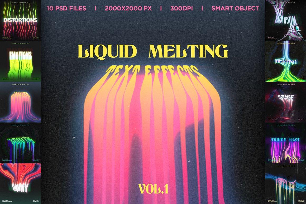 液体融化文字效果样机模板 Liquid Melting Text Effects Vol.1