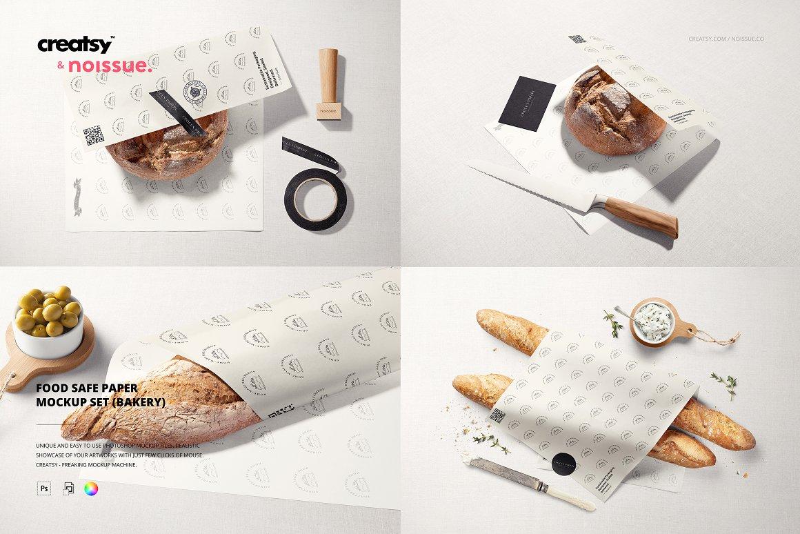 面包食品包装样机模板 Noissue Food Safe Paper Mockup Set