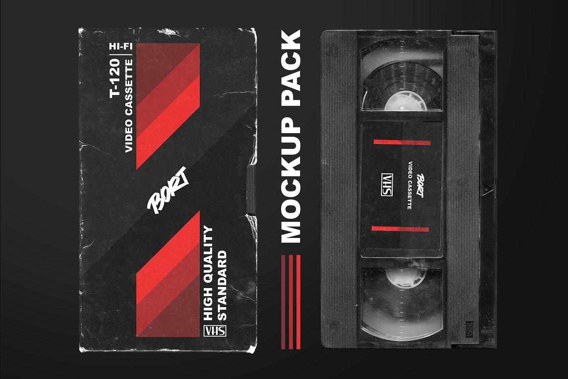 复古VHS录像带样机模板 OLD VHS video cassette mockup pack