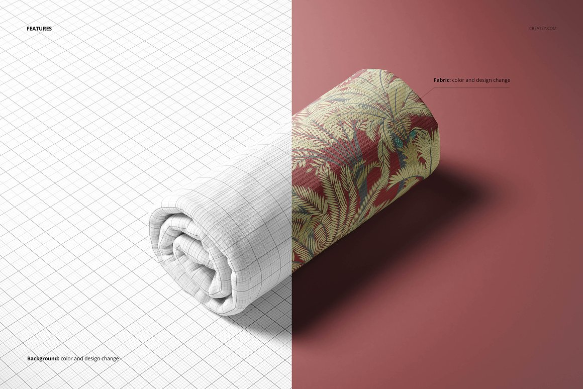 罗纹针织面料样机模板