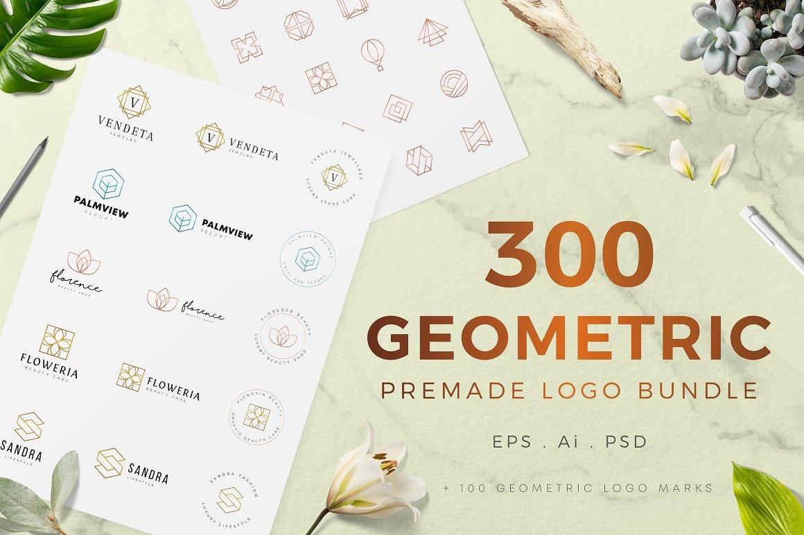 300个几何预制LOGO徽标合集 Geometric Premade Logo Bundle