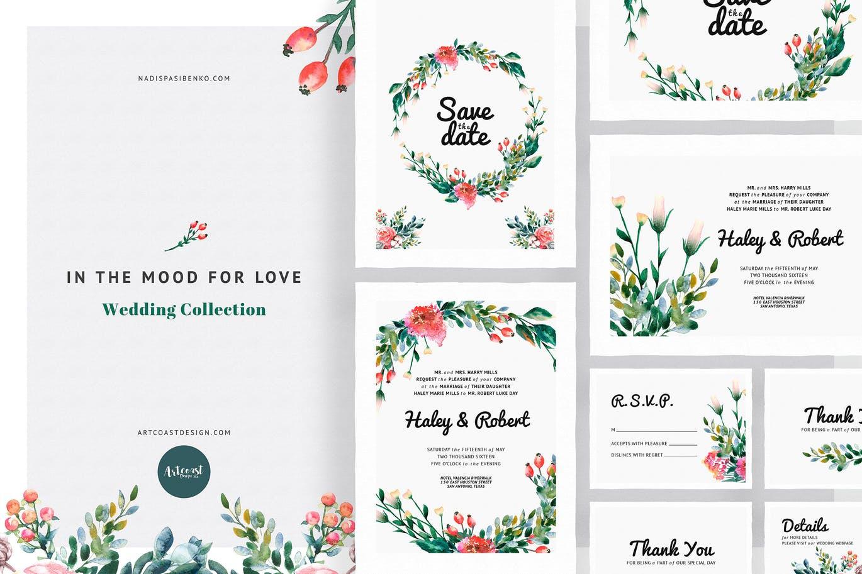 12套主题婚礼手绘水彩邀请函请柬设计物料矢量模板